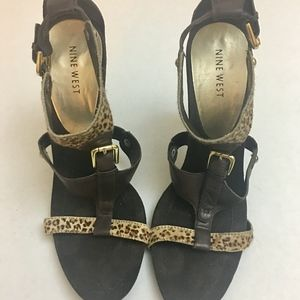 NINE WEST SHPRESAO LEATHER CALF SKIN LEOPARD HEELS